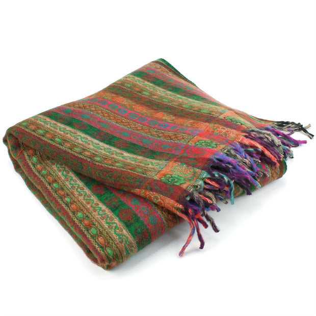 Acrylic Wool Shawl Blanket - Stripe - Green & Orange