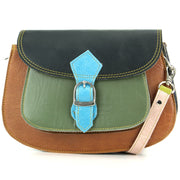 Real Leather Colourful Messenger Shoulder Bag - Green Mix