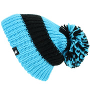 Chunky Acrylic Knit Beanie Hat with a MASSIVE Bobble - Blue & Black