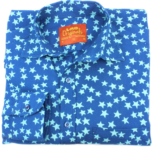 Regular Fit Long Sleeve Shirt - Blue with Light Blue Stars