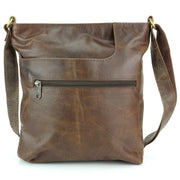 Real Leather Shoulder Bag with Front Zip and Pouch Pocket - Dark Brown