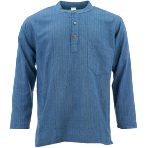 Cotton Grandad Collar Shirt - Navy Blue