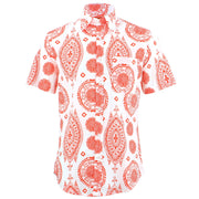 Tailored Fit Short Sleeve Shirt - Mandala Style Indian Print
