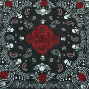 Bandana Face Cover Mask - Rose Paisley Skulls