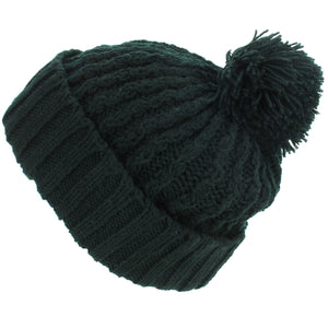 Cable Knit Bobble Beanie Hat - Black