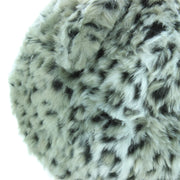Animal Print Beanie Hat with Ears - Silver