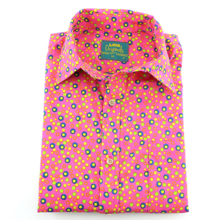Tailored Fit Short Sleeve Shirt - Dotty Pink