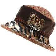 Ladies Mixed Fabric Cloche Hat with Tiger Print Brim