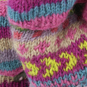 Chunky Wool Knit Fingerless Shooter Gloves - Chevron - Pink