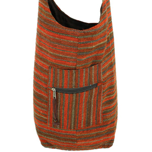 Striped Chenille Sling Shoulder Bag - Red Brown