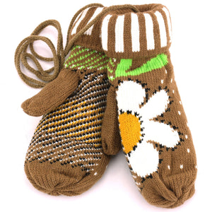 Ladies Flower Mittens - Brown