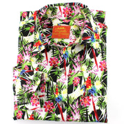 Tailored Fit Long Sleeve Shirt - Green Pink & Yellow Palms & Parrots