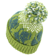 Wool Knit Bobble Beanie Hat - Elephant - Green White
