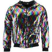 Sequin Hooded Bomber Jacket - Rainbow