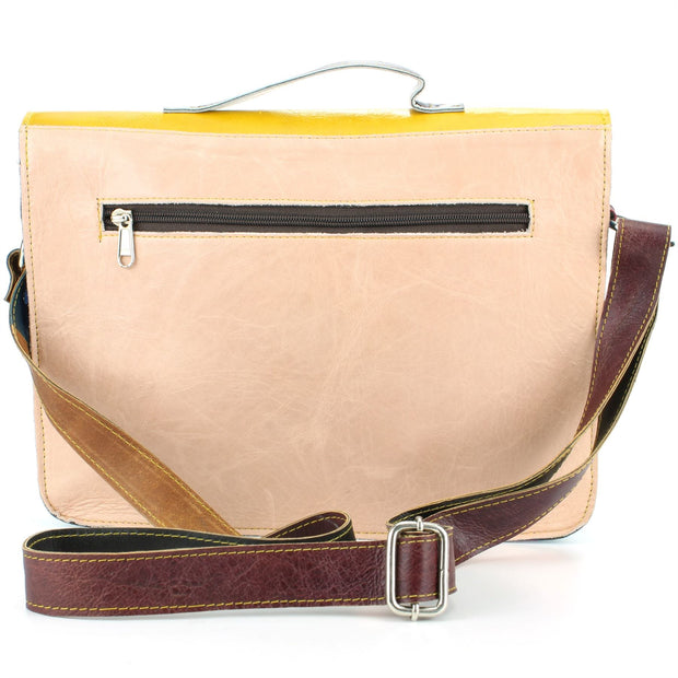 Real Leather Colourful Satchel Messenger Shoulder Bag - Yellow & Blue Mix