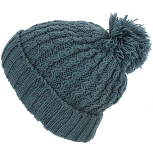 Cable Knit Bobble Beanie Hat - Green