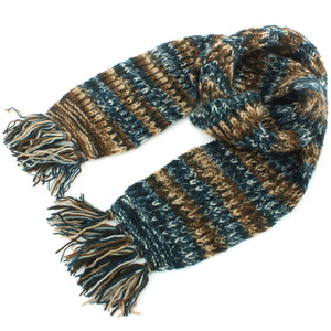Chunky Wool Knit Abstract Pattern Scarf - Blue & Brown