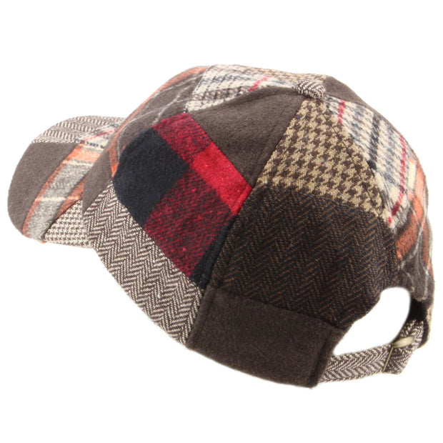 Patchwork Tweed baseball cap with adjustable strap - Red