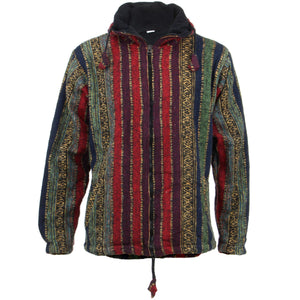 Fleece Lined Brushed Cotton Hooded Jacket Cardigan - Red, Green & Navy