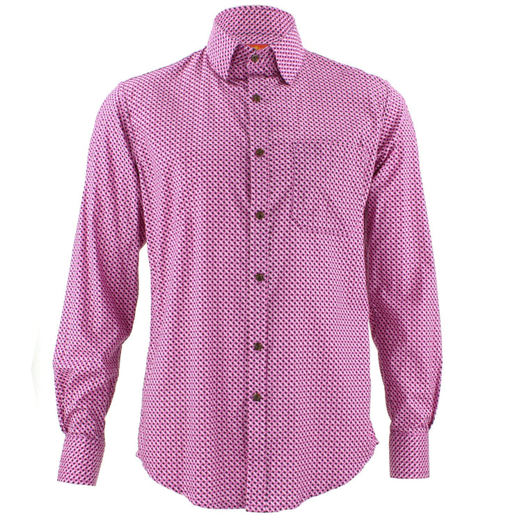 Tailored Fit Long Sleeve Shirt - Pink Stitching