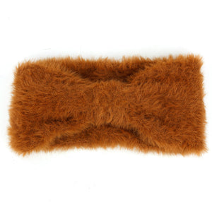 Bowknot Faux Fur Headband - Brown