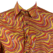 Regular Fit Long Sleeve Shirt - Red Yellow & Pink Waves Abstract