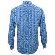 Tailored Fit Long Sleeve Shirt - Blue Leaves