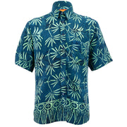 Regular Fit Short Sleeve Shirt - Tropical Leaf - Petrol