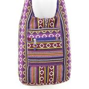 Diamond Pattern Canvas Sling Shoulder Bag - Purple