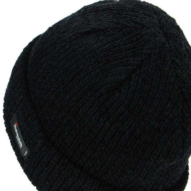 Chenille beanie hat with fleece lining - Black (One Size)