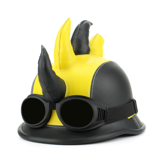 Saw Blade Mohawk Horned Novelty Festival Helmet with Goggles - Yellow & Black