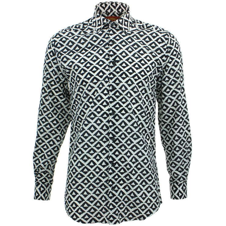Slim Fit Long Sleeve Shirt - Block Print - Triangles