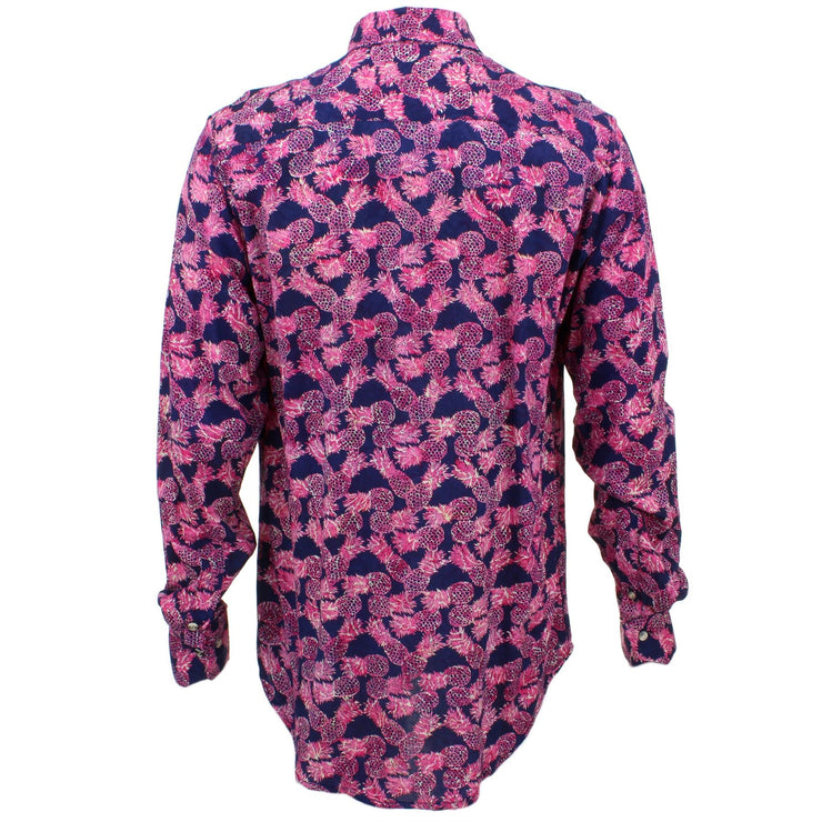 Tailored Fit Long Sleeve Shirt - Pink Pineapples on Purple