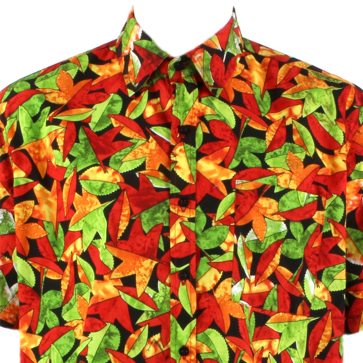 Regular Fit Short Sleeve Shirt - Red & Green Leaves