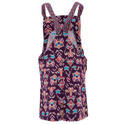 Chic Tea Shift Dungaree Dress - Purple Tribal