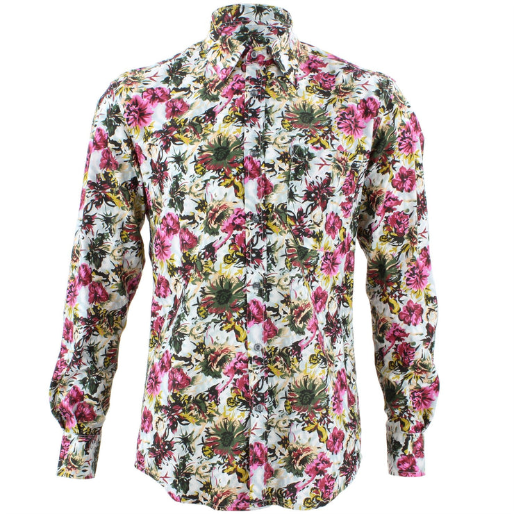 Tailored Fit Long Sleeve Shirt - Green & Yellow Abstract Floral