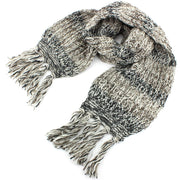 Long Chunky Knit Wool Multi Mix Scarf - Brown & Black Mix