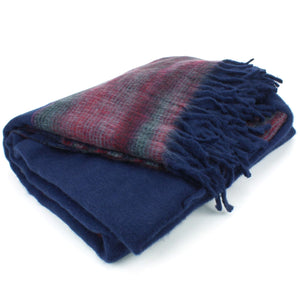 Tibetan Wool Blend Shawl Blanket - Navy with Maroon Reverse