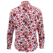 Tailored Fit Long Sleeve Shirt - Pink Black & Red Abstract Shapes