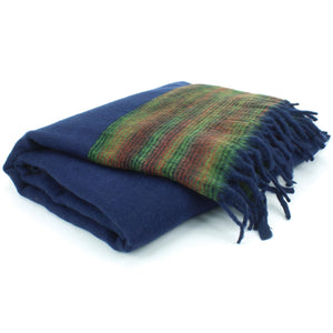 Tibetan Wool Blend Shawl Blanket - Navy with Green & Red Reverse