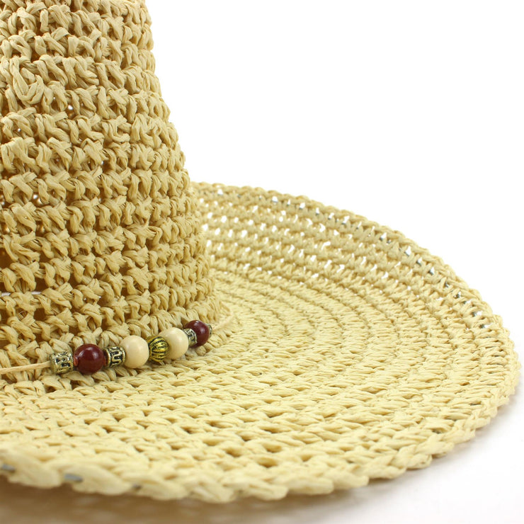 Straw Cowboy Hat with Bead Band