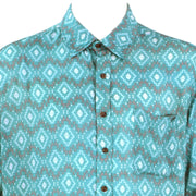 Regular Fit Short Sleeve Shirt - Turquoise Aztec