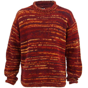 Chunky Wool Knit Space Dye Jumper - Red & Orange