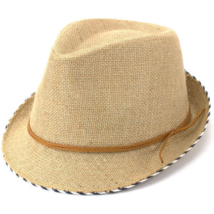 Hessian Cotton Trilby Fedora Hat with Leather Band - Brown