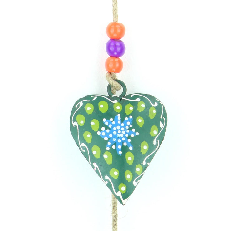 Hanging Mobile Decoration String of Hearts - Green - Sand String