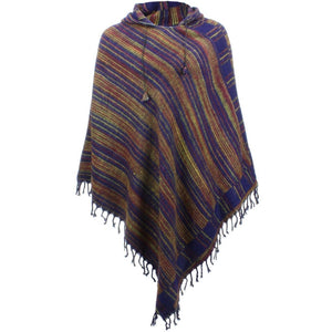 Acrylic Fleece Hooded Poncho - Purple & Brown