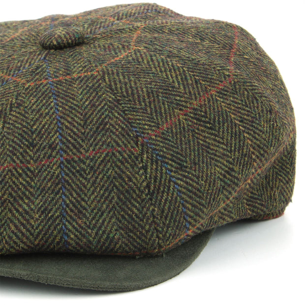 Tweed Peaky Blinders Gatsby Newsboy 8 Panel Flat Cap - Green