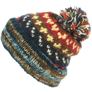 Chunky Wool Knit Abstract Pattern Beanie Bobble Hat - Blue & Brown