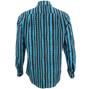 Regular Fit Long Sleeve Shirt - Blue & Black Abstract Stripes
