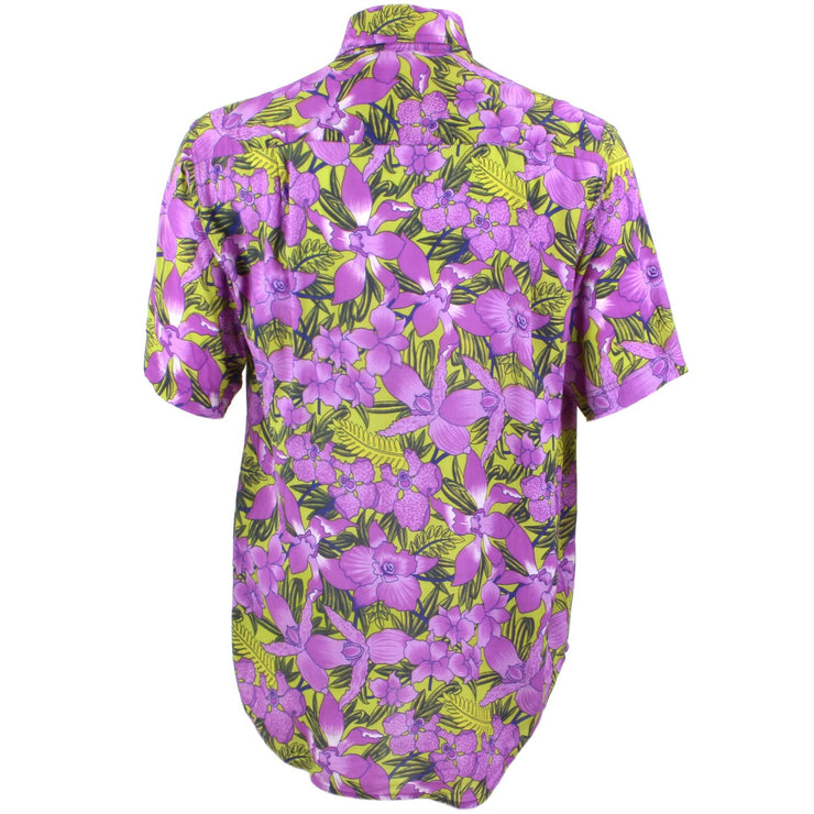 Regular Fit Short Sleeve Shirt - Purple & Green Floral